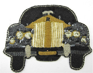 "Rolls-Royce Car Black and Gold Sequin Beaded 8"" x 6"""