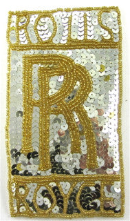 "Rolls-Royce Car Patch with Silver Sequins, Gold Beads 5.5"" x 3"""