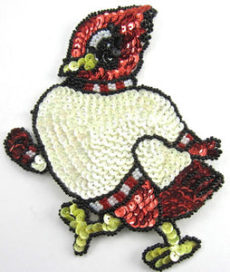 "Rooster Strutten with Red White Sequins 5.5"" x 4.5"""