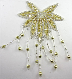 "Epaulet Leaf with Gold and Silver Sequins and Beads 9"" x  5.5"""