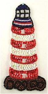 "Lighthouse with Red Black White Sequins and Beads 6"" x 3"""