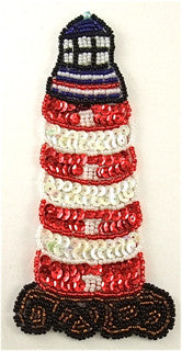 Lighthouse with Red Black White Sequins and Beads 6