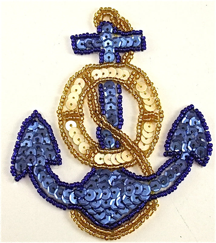 "Anchor with Blue Gold and Rope 4.25"" x 3.5"" - Sequinappliques.com"