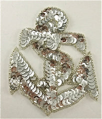 "Anchor with Silver Sequins and Beads 4"" x 3.25"" - Sequinappliques.com"