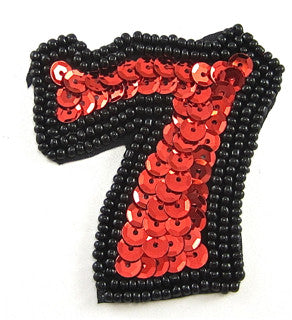 "Seven Lucky 7 with Black and Red Sequins and Beads 2"" x 2"""