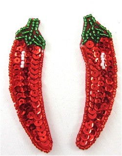 "Chili Pepper Pair with Red Green and White Sequins and Beads 3"" x 1"""