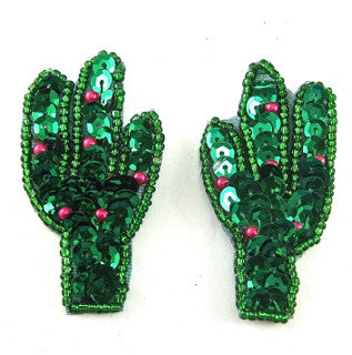 "Cactus Pair with Green and Red Sequins and Beads 2.5"" x 1"""