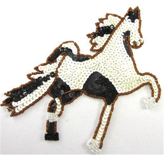 "Horse with Black and White Sequins Trimmed in Bronze Beads 6"" x 5.5"""