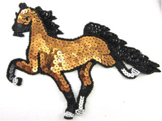 "Horse Trotting with Brown, Black Sequins and Beads 6""x 7"""