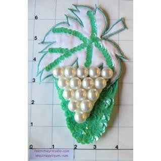 "Design Motif with Grape Pearls and Turquoise Leaf 6.5"" x 4"""