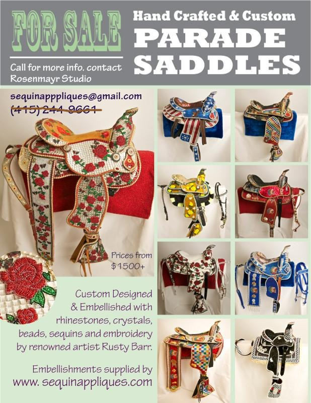 Custom Handmade Embellished Saddles Furnished by sequinapplique.com