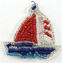 "Load image into Gallery viewer, Sailboat with Red White and Blue Beads 1 3/4"" x 1 3/4"""
