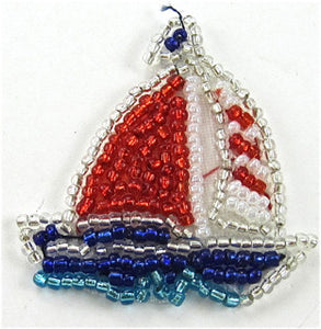 "Sailboat with Red White and Blue Beads 1 3/4"" x 1 3/4"""