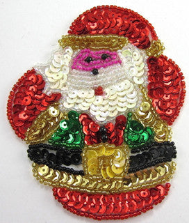 "Santa Round and Colorful Sequins 4"" x 3"""
