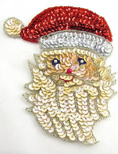 "Santa with Red Sequin Hat and Beige Beard, 5"" x 3"""