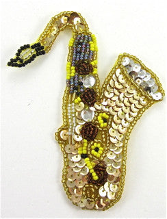 "Saxophone Gold sequins MultiColored Beads 4.25"" x 3.5"""