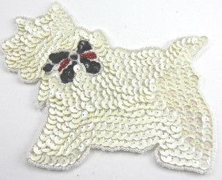 Scotty Dog with China White Sequins Black Red bow