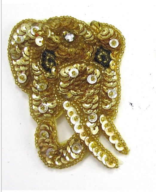 "Elephant with Gold Sequins 3"" x 2.5"""