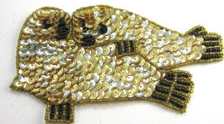 "Seals with Gold and Black Sequins and Beads 3.5"" x 5.5"""