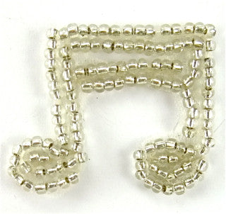 "Silver Beaded Double Note 1"" x 1"""