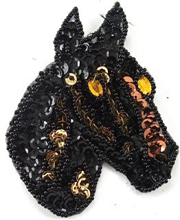 "Small Horse Head with Black Bronze Sequins and Beads 3"" x 3"""