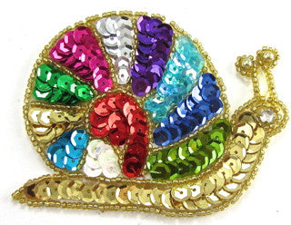 "Snail with MultiColored Sequins Gold Beads 3"" x 3.5"""