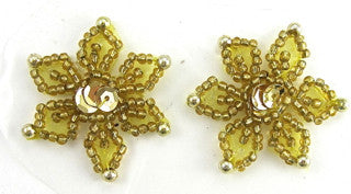 Snowflakes Gold Beads 1.5