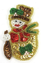 "Load image into Gallery viewer, Gold Snowman 3"" x 2"""