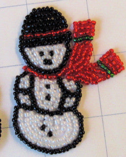 "Snowman all Beaded with Scarf 2.5"" x 1.5"""