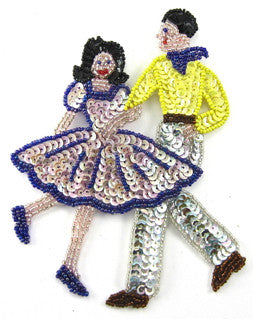 "Square Dancing Couple with Mauve Yellow Sequins 6"" x 5"""