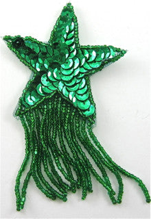 "Star Green Sequins and Beads with Fringe, 2.5"" x 4"""