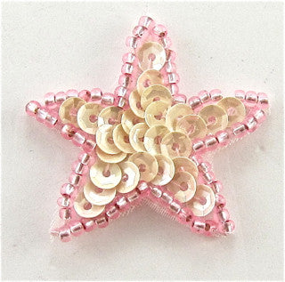 Star  with Flat LitePink Sequins and Dark Pink Beads 1.25""