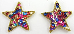 Star Pair with MultiColored Sequins 2.5""