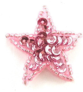 Star with Pink Sequins and Matching Beads 1.25""