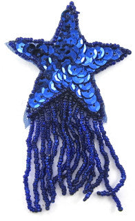 "Star Royal Blue with Sequins and Fringe 2.75"" x 4"""