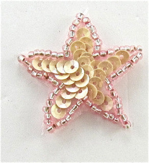 Star Small Pink Sequns Dark Pink Trim 1.25""