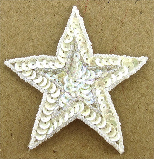 Star White Sequins and Iridescent Insert 3""