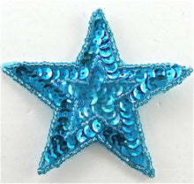 Load image into Gallery viewer, Star with Star inset with turquoise Sequins and Beads 3""