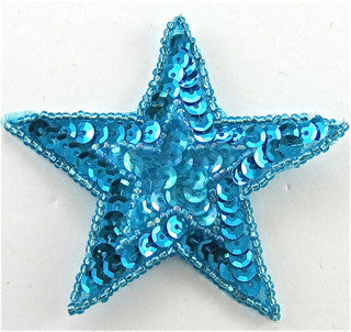 Star with Star inset with turquoise Sequins and Beads 3