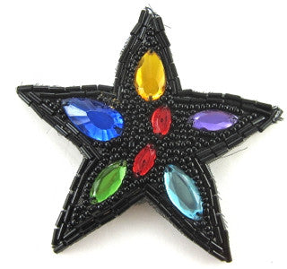 Star with Black Beads and Gems 3.5""