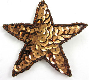 Star with Bronze Sequins and Beads 1.25""