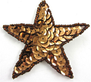 Star with Bronze Sequins and Beads 1.25