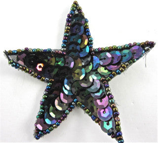Star with Moonlight Sequins and Beads 3""