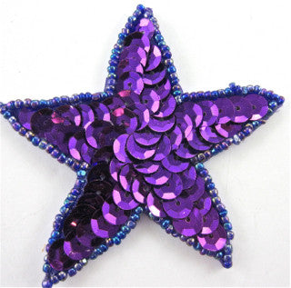 "Star with Purple Sequins and Beads "" 2.5"""