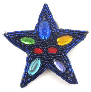 Star with Royal Blue Beads and Gems