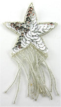 "Load image into Gallery viewer, Star with Silver Fringe and Sequins 4"" x 2.5"""