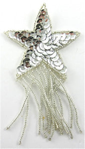 "Star with Silver Fringe and Sequins 4"" x 2.5"""