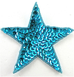 Star with Turquoise Sequins 4""