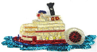 "Steamboat with MultiColored Sequins and Beads 3.5"" x 7.5"""