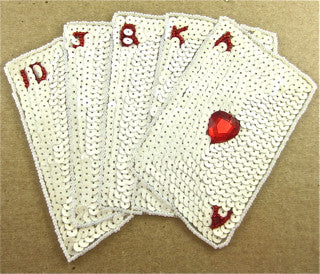"Straight Flush Playing Cards with White Sequins 8.5"" x 7.5"""